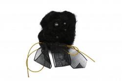 Καρφίτσα πλεχτή σε μαύρο με σχέδιο άνθος και φιόγκο 80Χ50mm