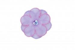 Θερμοκολλητικό μοτίφ άνθος σε μοβ ροζ αποχρώσεις διαμέτρου 42mm
