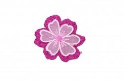 Θερμοκολλητικό μοτίφ άνθος σε ροζ φουξ αποχρώσεις διαμέτρου 36mm