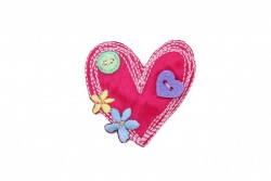 Θερμοκολλητικό μοτίφ παιδικό καρδιά με διακοσμητικά στοιχεία 45Χ45mm